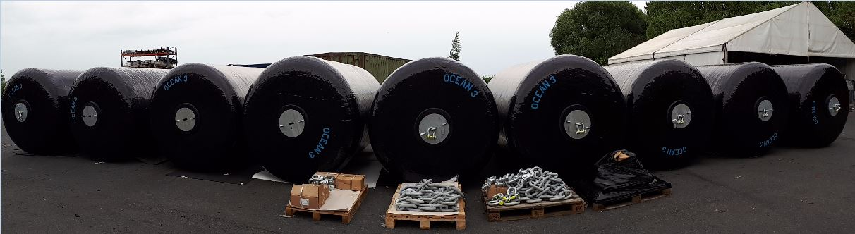 Ocean 3 Foam Filled Fenders - 9 Fenders Ø 2,0 x 3,5 m for Penfeld Pontoons - Fregates Fremm berthing in Naval Basis of Brest